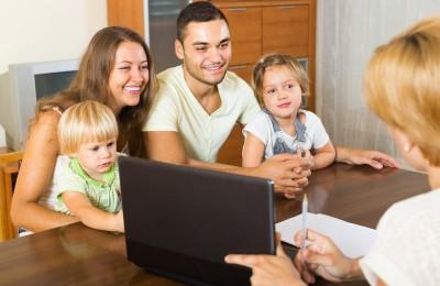 Young parents with little kids participating in door-to-door poll
